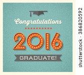 retro graduation card design... | Shutterstock .eps vector #386820592