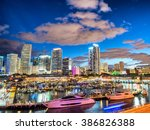 skyline of miami at sunset ... | Shutterstock . vector #386826388