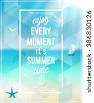 enjoy every moment poster with... | Shutterstock .eps vector #386830126