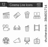 set of 12 cinema thin line... | Shutterstock .eps vector #386831716