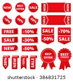 red sale banners  labels ... | Shutterstock .eps vector #386831725