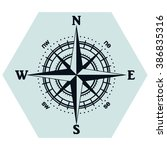 illustration of a compass rose | Shutterstock .eps vector #386835316