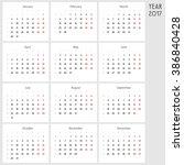calendar for 2017. monday is a... | Shutterstock .eps vector #386840428