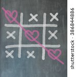 the blackboard picture with tic ... | Shutterstock . vector #386844886