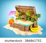 tropical bar with cocktails and ... | Shutterstock . vector #386861752