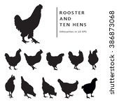 hen and rooster. black and... | Shutterstock .eps vector #386873068
