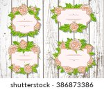 vector set of labels with hand... | Shutterstock .eps vector #386873386