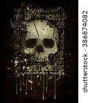 Skull Human On Isolated Black...
