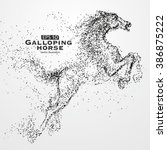 galloping horse particles... | Shutterstock .eps vector #386875222