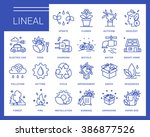 line ecology vector icons in a... | Shutterstock .eps vector #386877526
