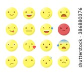 big set of smiley faces with... | Shutterstock .eps vector #386880376