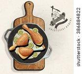 rustic menu illustration. retro ...   Shutterstock .eps vector #386884822