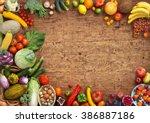 organic food background. studio ... | Shutterstock . vector #386887186