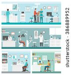 healthcare and clinics banners... | Shutterstock .eps vector #386889952
