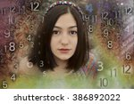woman's face  magic of figures  ... | Shutterstock . vector #386892022