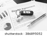 signing car rental agreement... | Shutterstock . vector #386895052