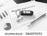 signing car rental agreement... | Shutterstock . vector #386895052