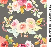 seamless pattern with flowers... | Shutterstock . vector #386897512