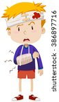 boy having head and arm injury... | Shutterstock .eps vector #386897716