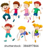 boys and girls in different...   Shutterstock .eps vector #386897866