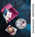 Small photo of top view armchair with blue carpet interior cafe table