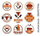 butcher shop  fresh meat  beef... | Shutterstock .eps vector #386907946