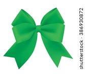 realistic green gift ribbon | Shutterstock .eps vector #386930872