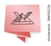 paper samurai helmet doodle | Shutterstock .eps vector #386932126