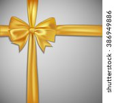 gold bow and ribbon. vector... | Shutterstock .eps vector #386949886