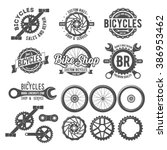 set of vintage and modern bike... | Shutterstock .eps vector #386953462