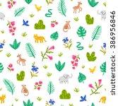 jungle wildlife seamless... | Shutterstock .eps vector #386956846