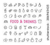 hand drawn food and drinks... | Shutterstock .eps vector #386965435