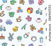 cute baby pattern with polka... | Shutterstock .eps vector #386965552