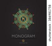 royal modern monogram  logo...   Shutterstock .eps vector #386981758
