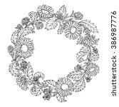 line floral frame with flower... | Shutterstock .eps vector #386987776
