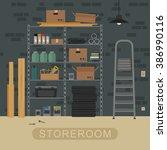 storeroom interior with metal... | Shutterstock . vector #386990116