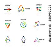 set of linear arrow abstract... | Shutterstock . vector #386991226