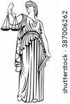 lady justice . greek goddess... | Shutterstock .eps vector #387006262
