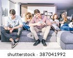 young people looking down at... | Shutterstock . vector #387041992