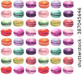 watercolor macaron seamless... | Shutterstock . vector #387045646