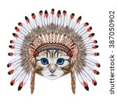 Portrait  Of Cat In War Bonnet. ...