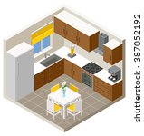 vector isometric kitchen with... | Shutterstock .eps vector #387052192