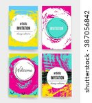template. set of trendy posters ... | Shutterstock .eps vector #387056842