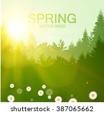 spring background. forest with... | Shutterstock .eps vector #387065662