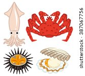 four marine products set | Shutterstock .eps vector #387067756