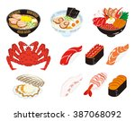 japanese cuisine and seafood set   Shutterstock .eps vector #387068092