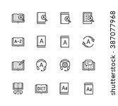 dictionary  vocabulary book... | Shutterstock .eps vector #387077968