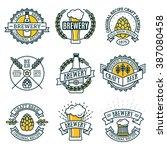 vintage craft beer retro design ... | Shutterstock .eps vector #387080458