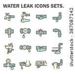 burst pipe and water leak... | Shutterstock .eps vector #387087142