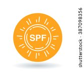 spf icon. spf sun screen symbol.... | Shutterstock .eps vector #387098356
